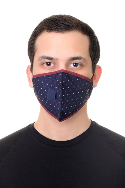 Face Mask W/ Straw Hole Navy Arrows Print