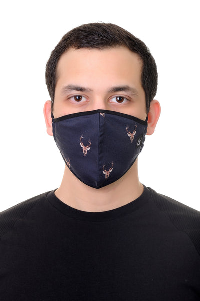 Face Mask Navy Deer Head print