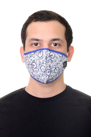 Face Mask White Bicycle print