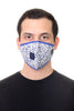 Mask W/ Straw Hole White Royal Blue Bicycle Print