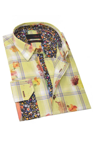 Floral Printed Green Shirt With Trim #M-1749