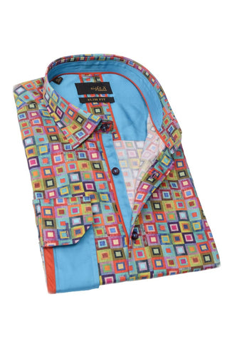 Colorful Squares Shirt With Trim #M-1763