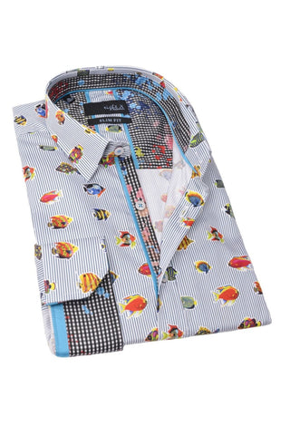 Striped Shirt With Tropical Fish  #M-1765