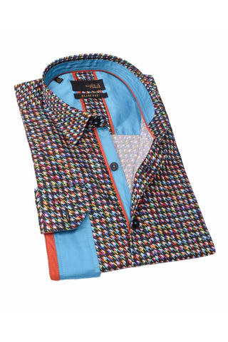 Multi Color Design Shirt With Blue Trim #M-1770