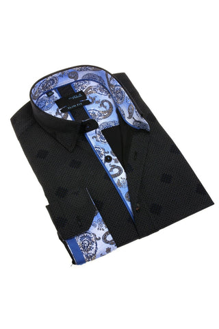 Navy Print Shirt With Paisley Pattern Trim #M-1779