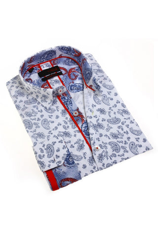 Navy Paisley Pattern Shirt With Trim #M-1782