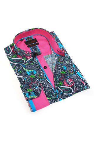 Paisley Print Shirt With Fuchsia Trim #M-1784