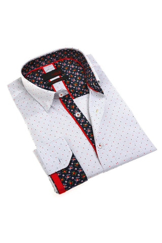 White Print Shirt With Floral Trim #M-1789