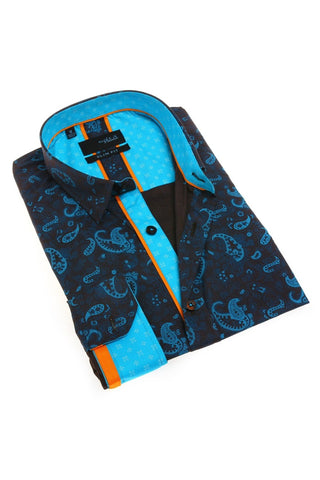 Turquoise Paisley Shirt With Trim #M-1790