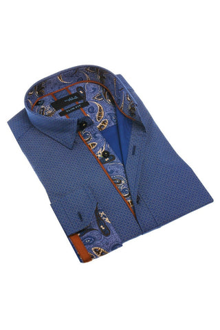 Navy Printed Shirt With Trim