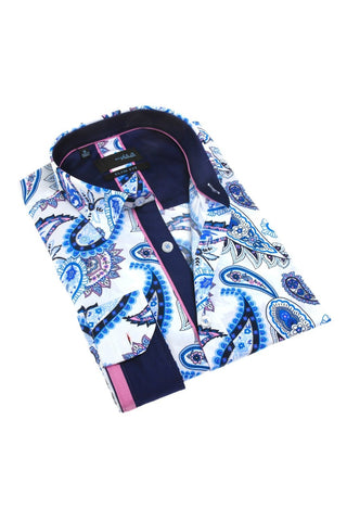 PAISLEY NAVY SHIRT W/ACCENT TRIM #M-1797