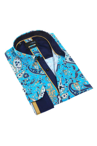 Turquoise Paisley Shirt With Trim #M-1798