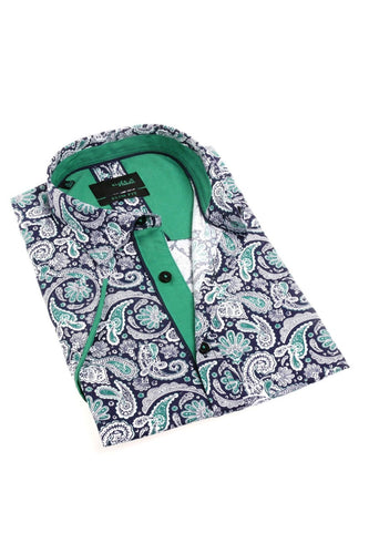 Paisley Short Sleeve Button Up With Green Trim #M-1828