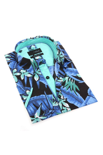 Tropical blue short sleeve button up