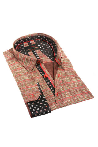 Brown Knit Style Button Up With Contrasting Trim
