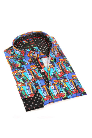 men's colorful digital print shirt, dress shirt, long sleeve