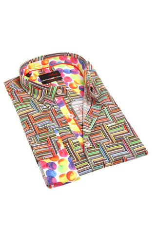 Bold colorful button down, perfect for an untucked casual style
