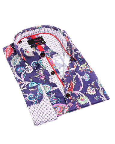 NAVY PAISLEY DIGITAL PRINT SHIRT #M-1843
