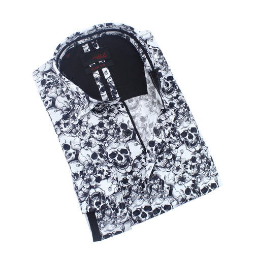 Hawaiian Skulls Print Shirt