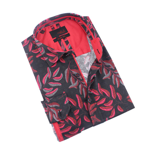 Red Leaves Print Shirt