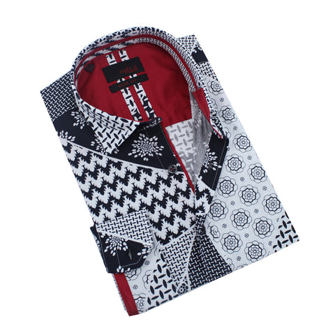 Monochrome Retro Patchwork Print Shirt