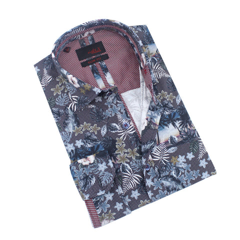 Tropical Beach and Leaves Print Shirt