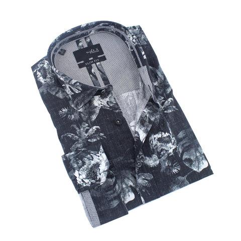 Silver Palms and Flowers Print Shirt