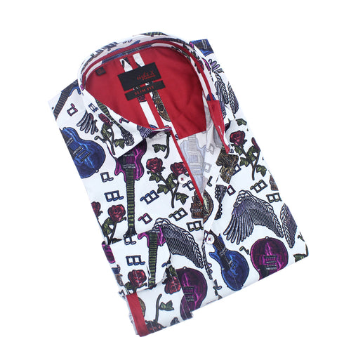 Skulls and Roses Rock'n'Roll Print Shirt
