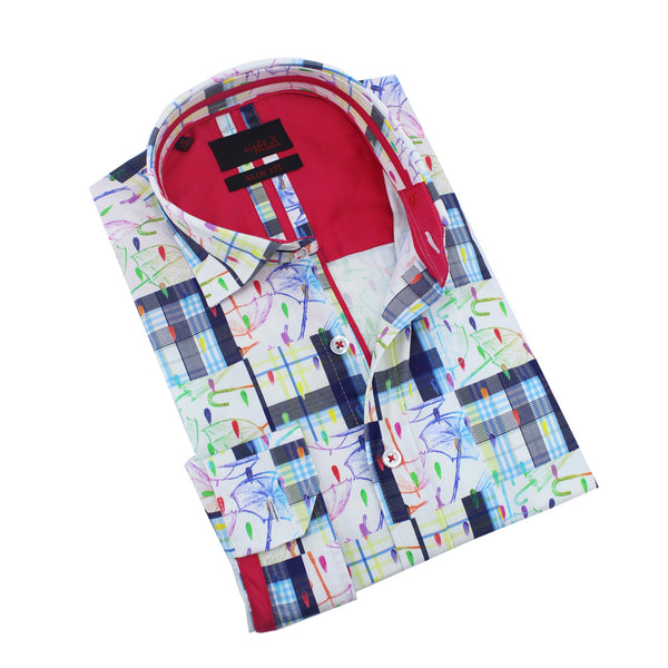 Men's slim fit  white button up collar mutli colored umbrella and plaid print dress shirt with red trim
