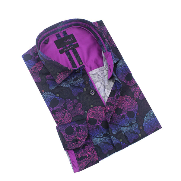 Neon Skull and Bones With Paisley Print Shirt
