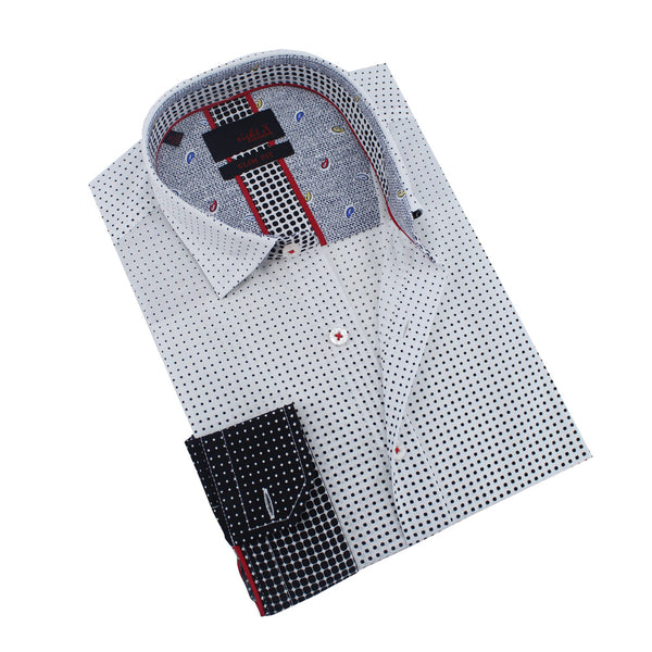 Men's slim fit white button up collar black ombre dot print dress shirt