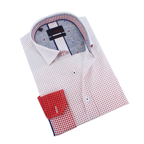 Men's slim fit white button up collar red ombre dot print dress shirt