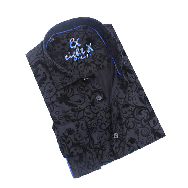 Vine Flocking on Satin Cotton Shirt
