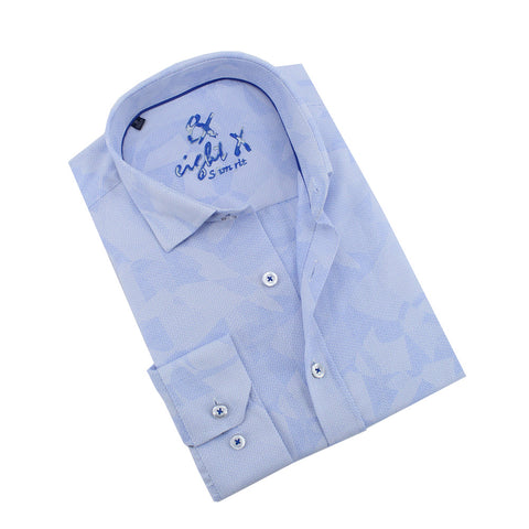 Soft Blue Geo-Shapes Print Jacquard Shirt