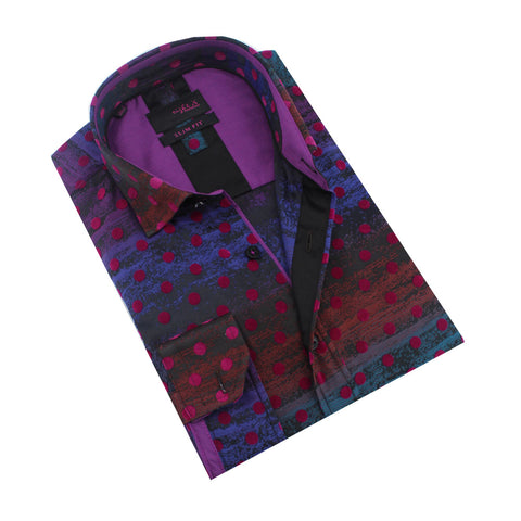 Folded dark blue button-up with fuchsia flocking polka-dot pattern.