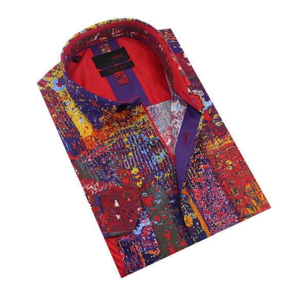Folded red fresco print button-up with scarlet front-yoke.