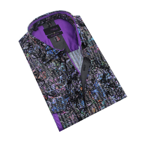 Folded black button-up with multi-color baroque leaf design and black baroque floral flocking. Features purple trim.