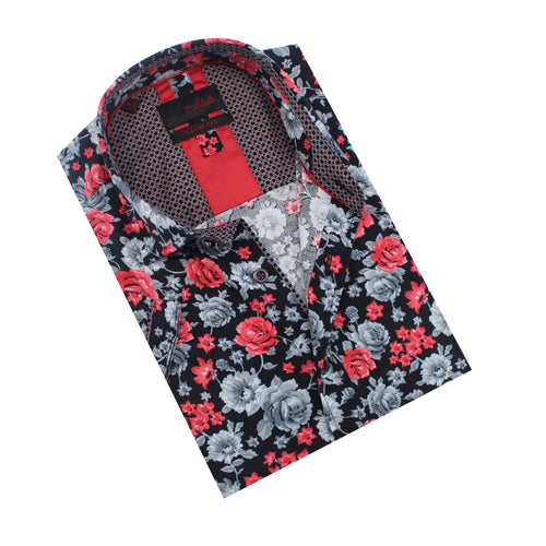 Folded, short-sleeve black button-up with red and grey floral pattern.