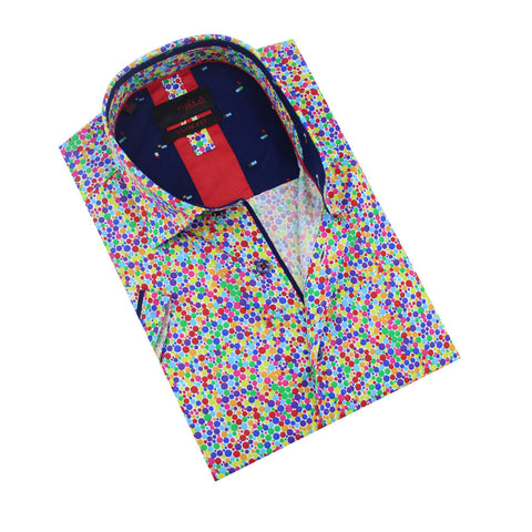 Folded, short-sleeve button up with multi-color confetti print and navy front-yoke.