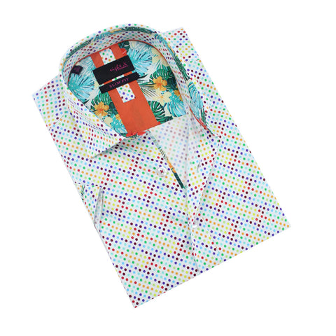White, short-sleeve button up with multi-color small polka dot print and Hawaiian print front-yoke.