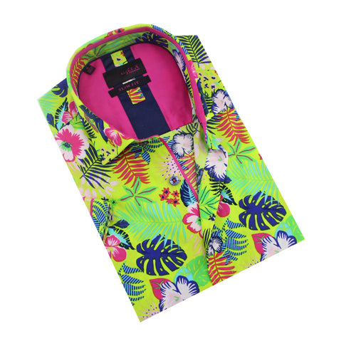 Folded lime-green Hawaiian print button-up with fuchsia front-yoke.