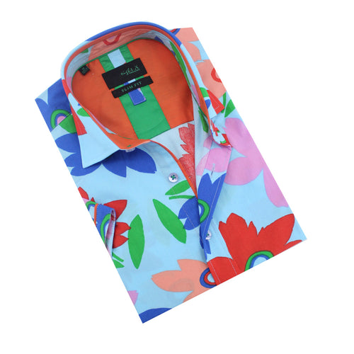 Folded light blue button-up with large flower print.