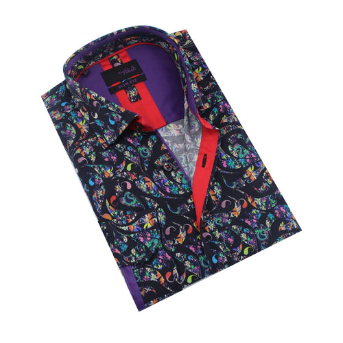 Folded black button-up with multi-color paisley print, red trim, and eggplant front-yoke.