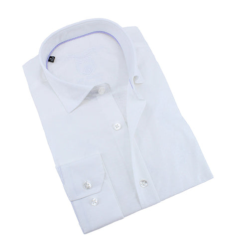 White Jacquard Shirt With Lilac Trim