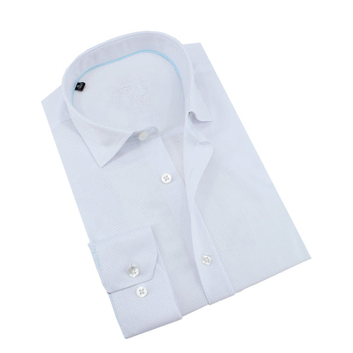 White Jacquard Shirt With Aqua Trim