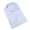 White Jacquard Shirt With Blue Trim