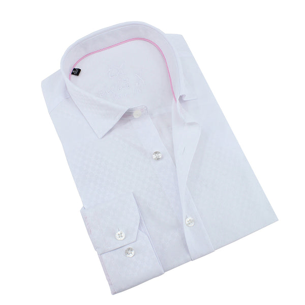 White Jacquard Shirt With Pink Trim