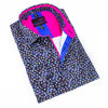 Folded navy-blue button-up in multi-colored brushstroke dot print. Features royal blue and hot pink trim.