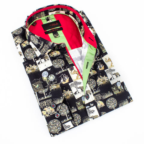 Folded black button up with digital safari print.