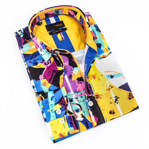 Folded button up with abstract paint digital print and print collar.